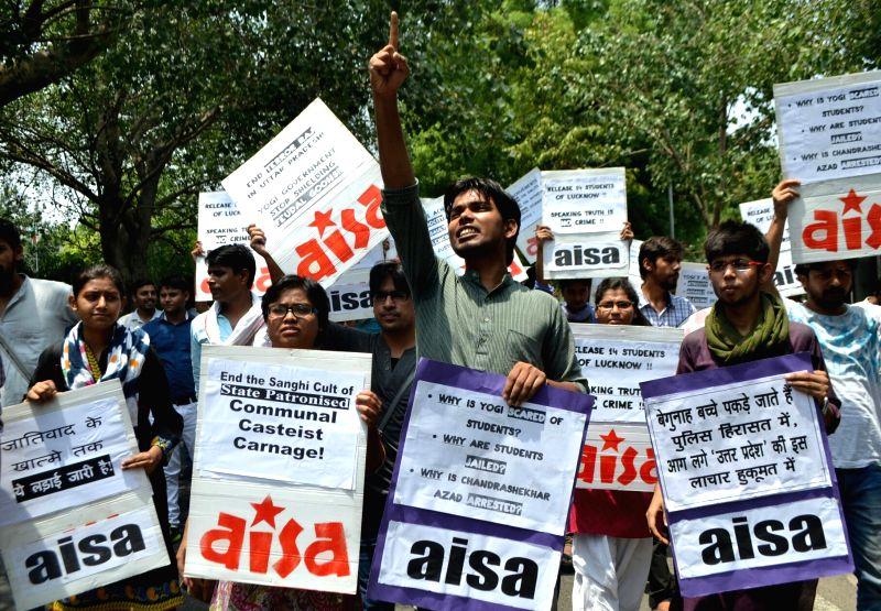 "AISA demonstration: AISA activists participate in ""Rise Up against Terror Raj"" outside UP Bhavan on June 10, 2017."