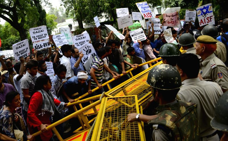 AISF activists demonstrate in front of Israeli Embassy in New Delhi against Israeli attacks on Gaza on July 14, 2014.