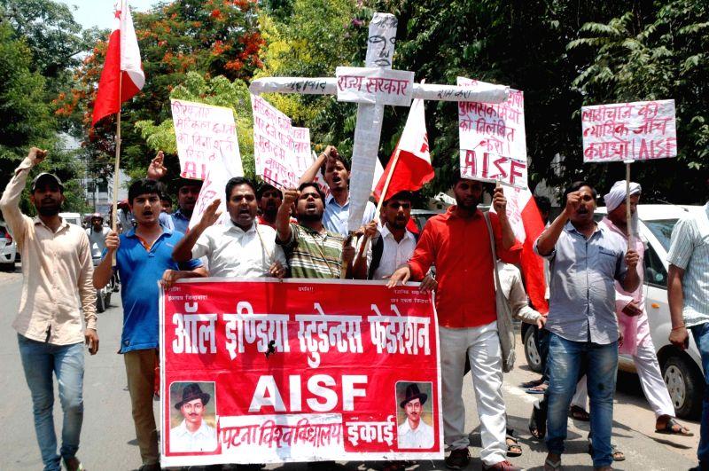 AISF activists stage a demonstration outside Patna Medical College and Hospital on May 24, 2017.