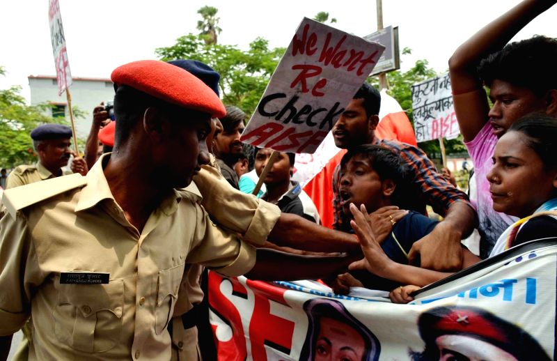 AISF students stage a demonstration against Bihar government  in Patna, on June 6, 2017.