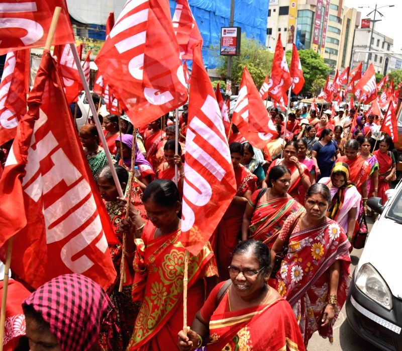 AITUC activists participate in a rally organised on International Workers' Day in Hyderabad, on May 1, 2017.