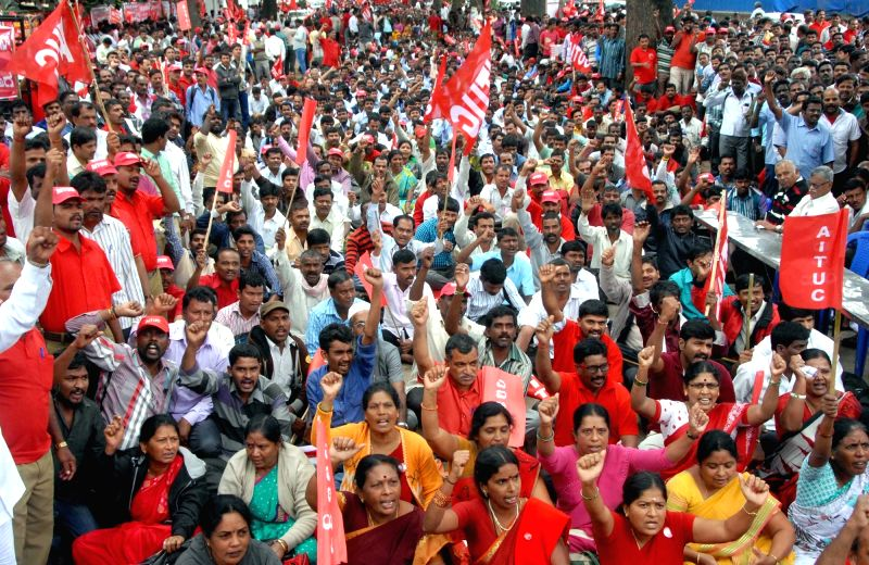 AITUC workers during a conference in Bengaluru, on Dec 1, 2015.