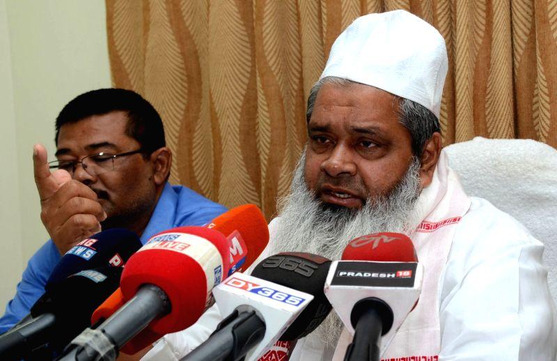 AIUDF chief Maulana Badaruddin Ajmal addresses a press conference in Guwahati, on April 5, 2016.