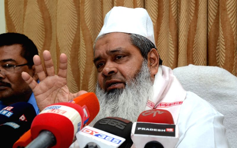 AIUDF chief Maulana Badruddin Ajmal addresses a press conference in Guwahati on April 5, 2016.