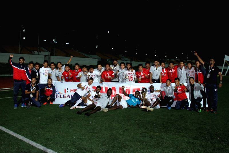 Aizawl FC celebrates after becoming I-League champions at the JN Stadium in Shillong on April 30, 2017.