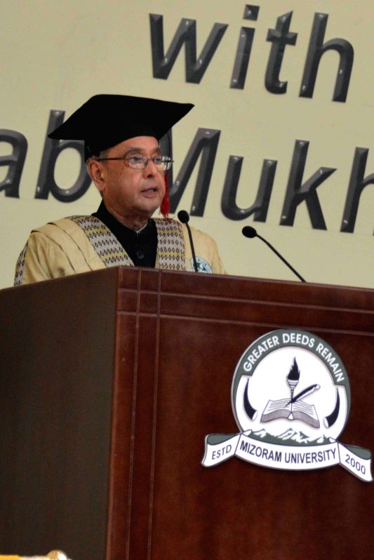 President Pranab Mukherjee addresses during the 10th Annual Convocation of the Mizoram University in Aizawl, Mizoram on April 10, 2015. - Pranab Mukherjee