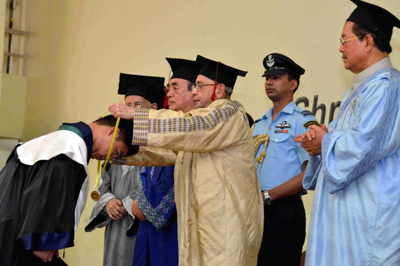 President Pranab Mukherjee  during the 10th Annual Convocation of the Mizoram University in Aizawl, Mizoram on April 10, 2015. - Pranab Mukherjee