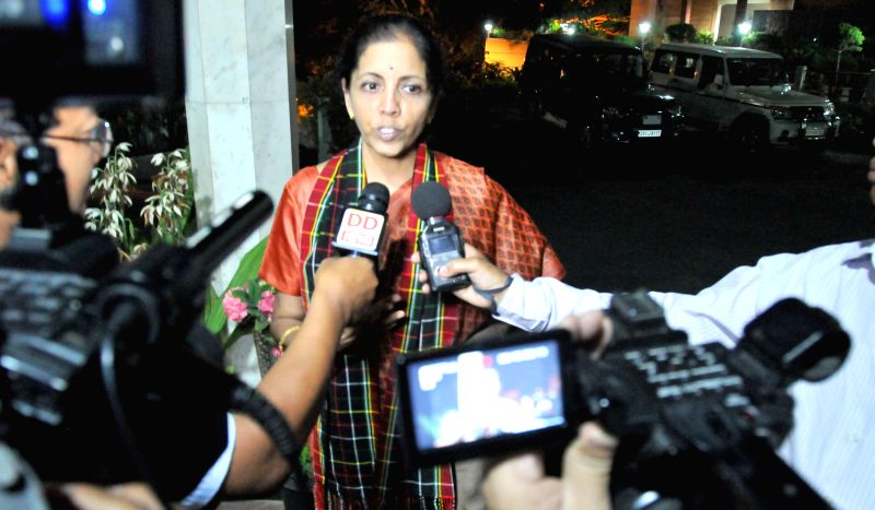 The Union Minister of State for Commerce and Industry (Independent Charge) Nirmala Sitharaman talks to the press, in Aizawl, Mizoram on March 24, 2015.