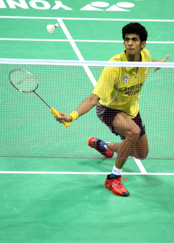 : Ajay Jayaram of Hyderabad Hotshots in action at the Indian
