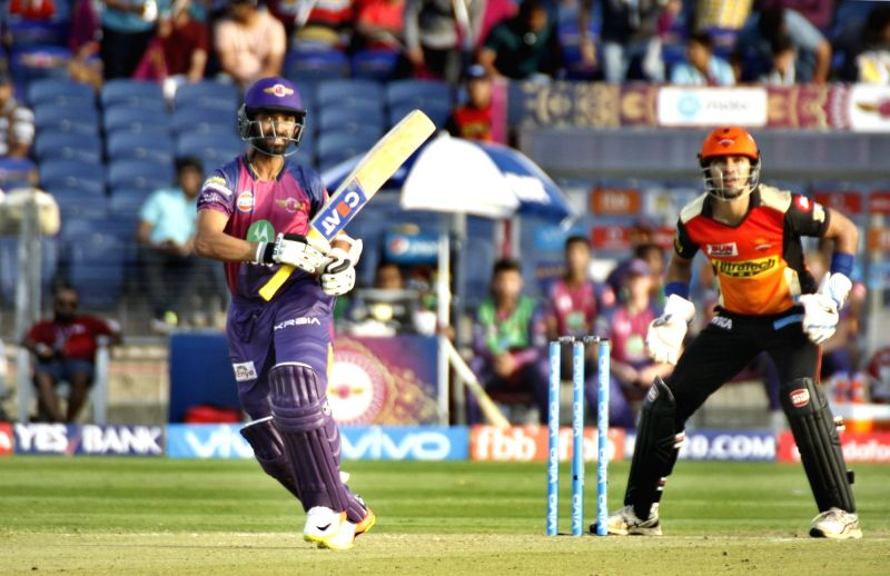 Ajinkya Rahane of Rising Pune Supergiant in action during an IPL 2017 match between Rising Pune Supergiant and Sunrisers Hyderabad at Maharashtra Cricket Association Stadium in Pune on April ...