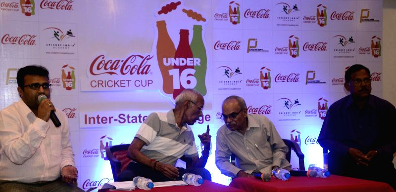 Ajit Ravindran, P N Shankaran and Shrikant Trigde during a joint press conference of Procam, MSSA and MCA to announce Coca Cola Under 16 Cricket Cup Tournament 3rd Editon in Mumbai on April 11, 2014.