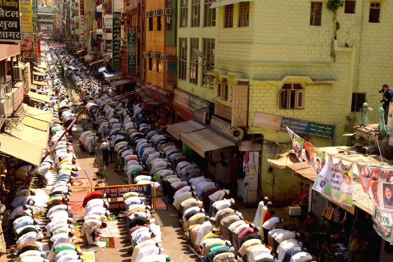 Pilgrims offer Friday prayers at the the shrine of Khwaja Moinuddin Chishti in Ajmer on April 24, 2015.