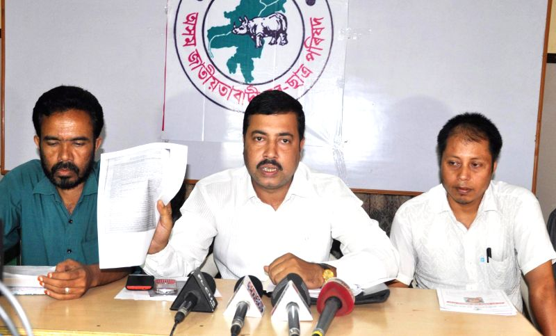 AJYCP president Manoj Baruah addressing a press conference in Guwahati on June 16, 2014.
