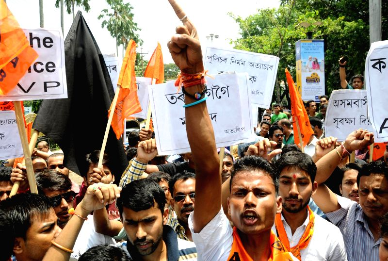 Akhil Bharatiya Vidyarthi Parishad (ABVP) activists during a 12-hour Assam bandh, called to protest against recent violence in Golaghat of Assam, in Guwahati on Aug 21, 2014.