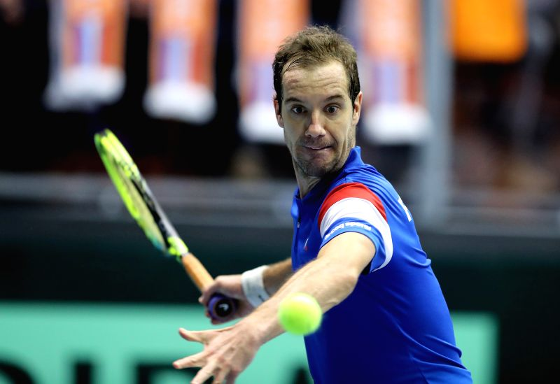 ALBERTVILLE, Feb. 3, 2018 - Richard Gasquet of France hits a return during the second match against Robin Haase of the Netherlands at Davis Cup First Round between France and the Netherlands in ...
