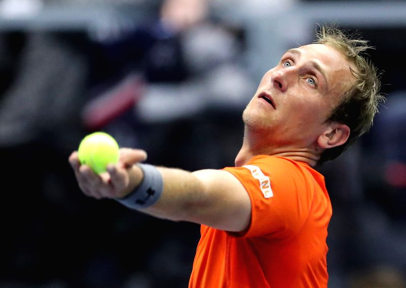 ALBERTVILLE, Feb. 3, 2018 - Thiemo de Bakker of the Netherlands serves during the first match against Adrian Mannarino of France at Davis Cup First Round between France and the Netherlands in ...