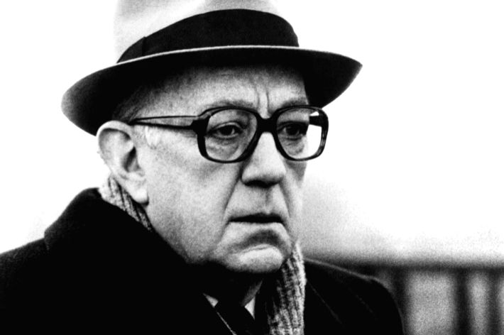 "Alec Guinness as George Smiley in a screen adaptation of ""Tinker, Tailor, Soldier, Spy"