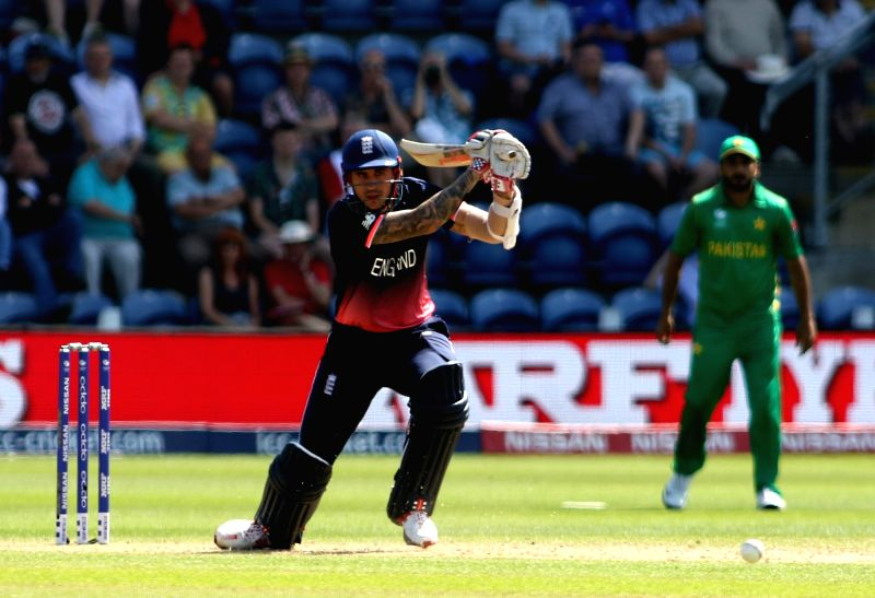 Alex Hales of England in action during the first Semi-final match of ICC Champions Trophy between England and Pakistan at Sophia Gardens in Cardiff, Wales, Britain on June 14, 2017.