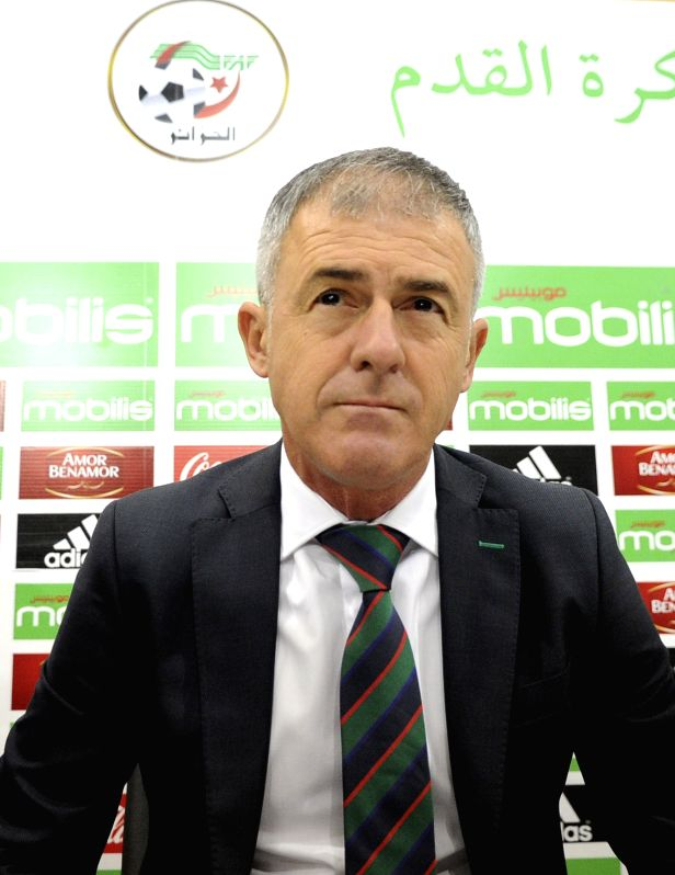 ALGIERS, April 19, 2017 - Algerian national football team's new head coach Lucas Alcaraz of Spain attends a press conference in Algiers, Algeria, April 19, 2017.