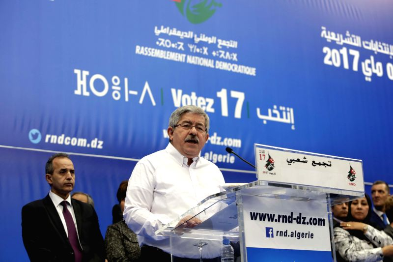 ALGIERS, April 29, 2017 - Ahmed Ouyahia, Secretary General of the National Democratic Rally (RND), the ruling party of Algeria, speaks during a campaign in Algiers, capital of Algeria on April 29, ...
