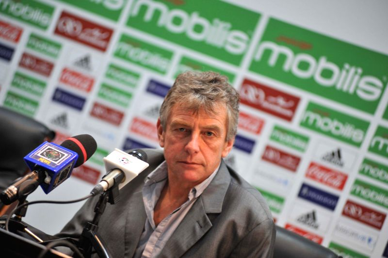 Algerian national football team head coach Christian Gourcuff answers questions about the upcoming Africa Cup of Nations during a news conference in Algiers, capital