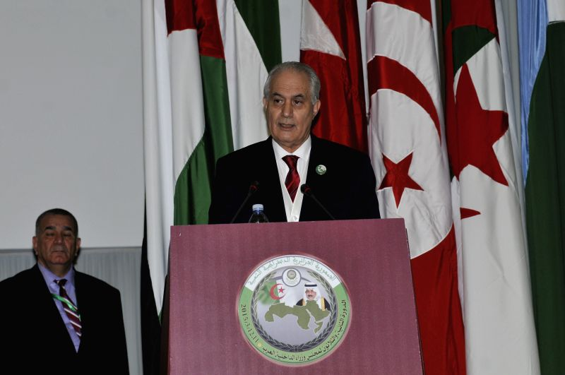 Algerian Interior Minister Tayeb Belaiz (front) speaks at the 32nd session of the Council of Arab Interior Ministers in Algiers, Algeria, March 11, 2015. The 32nd ... - Tayeb Belaiz
