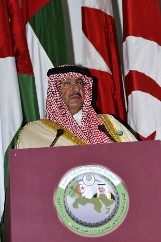 Interior Minister of Saudi Arabia Mohammed bin Nayef attends the 32nd session of the Council of Arab Interior Ministers in Algiers, Algeria, March 11, 2015. The ...