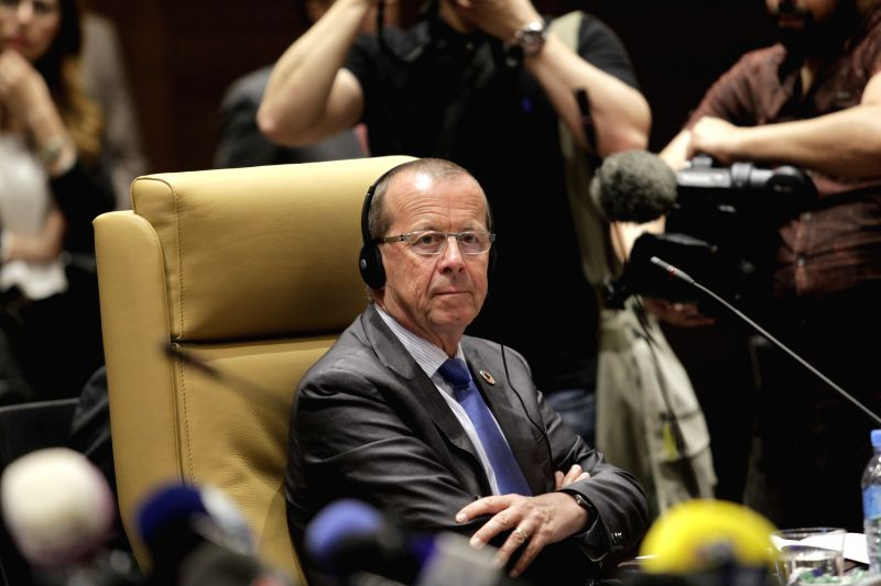 ALGIERS, May 8, 2017 - UN Special Envoy to Libya Martin Kobler attends the 11th ministerial conference of Libya's neighboring nations in Algiers, Algeria, May 8, 2017. Algerian Minister of Maghreb ...
