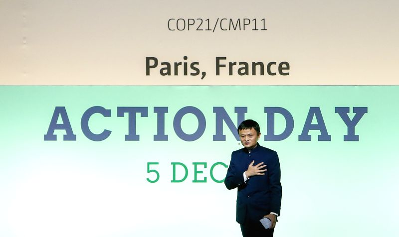 Alibaba's founder and chairman Jack Ma delivers a keynote speech during the Action Day event of the 2015 United Nations Climate Change Conference (COP 21) at Le ...