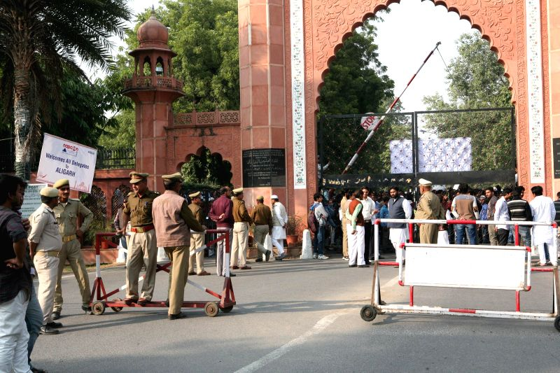 Security beefed up at Aligarh Muslim University amidst demonstration against Bharatiya Janata Party's (BJP) state unit's plan to mark the birth anniversary of Raja Mahendra Pratap in the ...