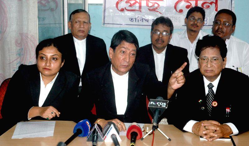 All Assam Lawyers Association (AALA)  General Secretary Sailendra Das addresses a press conference regarding KMSS chief Akhil Gogoi's comment on senior advocate Siddharth Bhattacharya in Guwahati on .