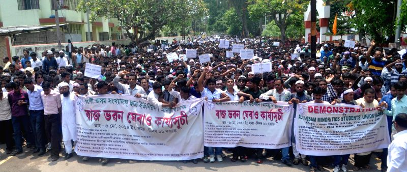 All Assam Minority Students Union (AAMSU)  activists demonstrate on Raj Bhawan road against recent violence in Bodoland Territorial Area Districts (BTAD) of Assam, in Guwahati on May 6, 2014.
