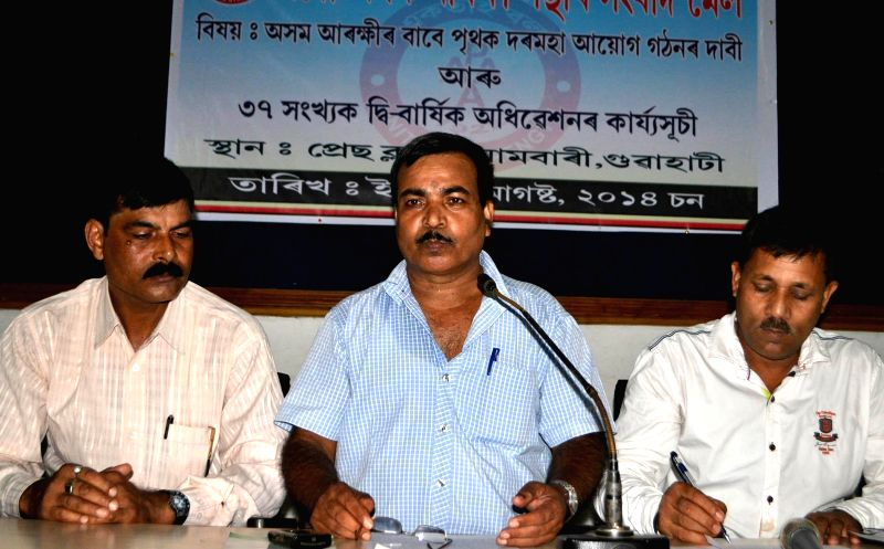 All Assam Police Association chief Pobitra Sarma during a press conference at Guwahati Press Club on Aug 20, 2014.