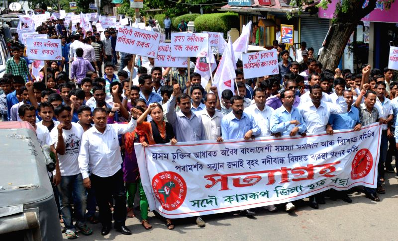 All Assam Student's Union (AASU) activists participate in a `Satyagrah rally` after Central Government resumed construction work at Lower Subansiri Hydro- Electric Power project in Guwahati on July ..
