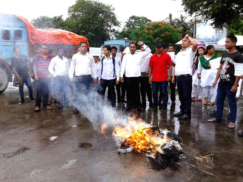 All Assam Student's Union (AASU) activists burn an effigy of Assam Chief Minister Tarun Gogoi during a demonstration ​​ to protest against the recent killings near Assam-Nagaland border