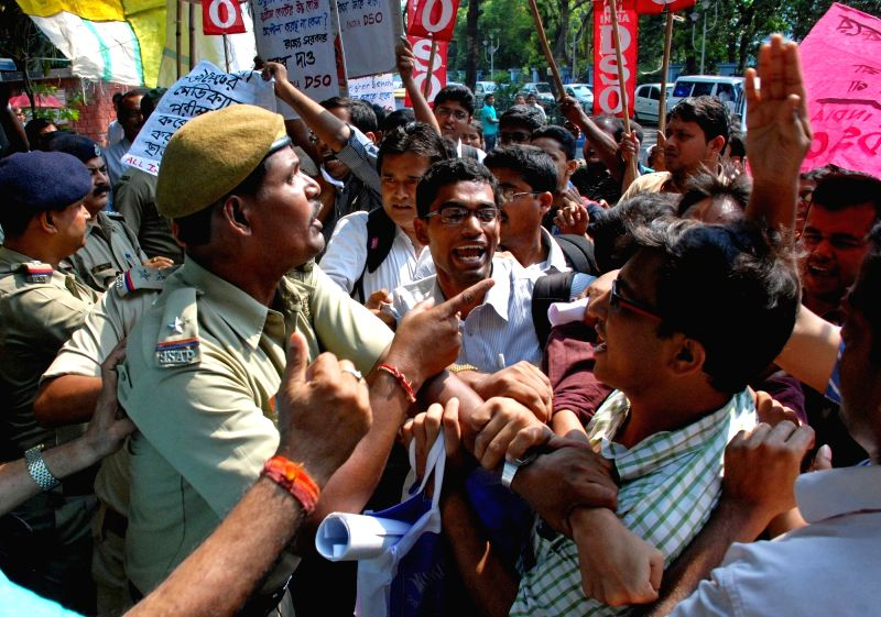 All India Democratic Students' Organisation (AIDSO) activists stage a demonstration against National Eligibility-cum-Entrance Test (NEET) in Kolkata, on May 12, 2016. In a set-back to some ...
