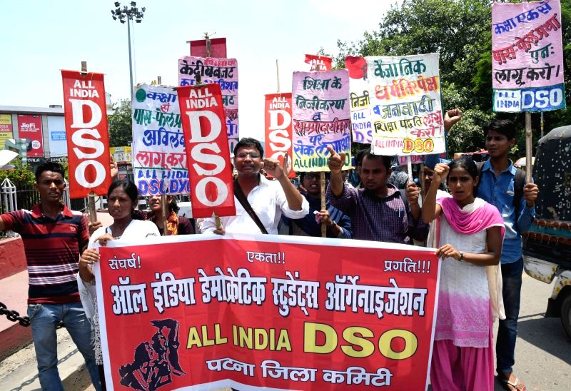 All India Democratic Students Organisation (AIDSO) activists stage a demonstration to press for their demands  in Patna, on July 17, 2017.