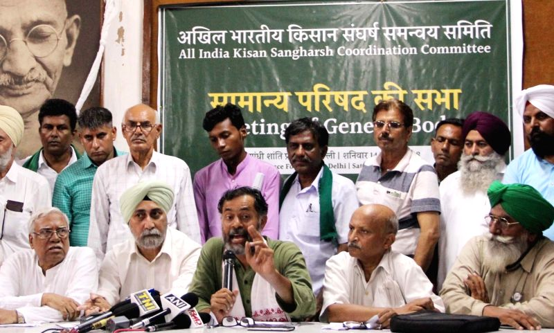 All India Kisan Sangharsh Coordination Committee (AIKSCC) convener VM Singh and member Yogendra Yadav during a press conference, in New Delhi on July 14, 2018. - Yogendra Yadav