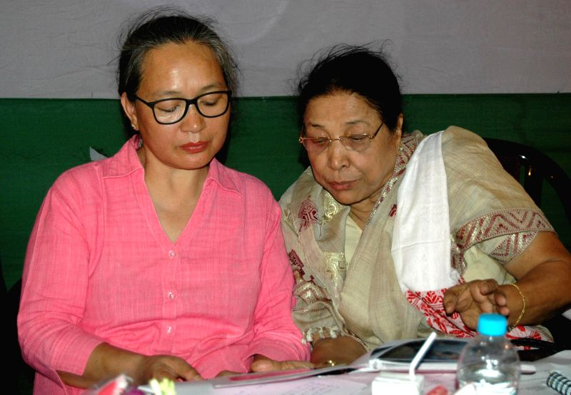 All India Mahila Congress General Secretary Jarjum Ete during the executive meeting of Assam Pradesh Mahila Congress Committee at Rajiv Bhawan in Guwahati on July 16, 2014.