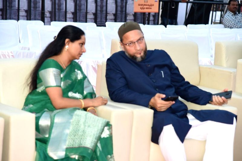 All India Majlis-e-Ittehad-ul Muslimeen (AIMIM) Asaduddin Owaisi with TRS MP K Kavitha during inauguration of World Telugu Conference in Hyderabad, on Dec 15, 2017.