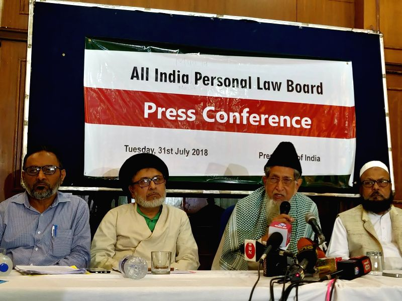 All India Muslim Personal Law Board (AIMPLB) Vice-President Maulana Syed Jalaluddin Umari addresses a press conference along with AIMPLB Secretary Zafaryab Jilani and other members of the ...