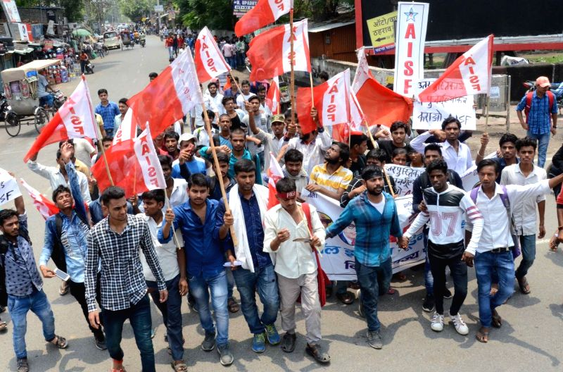 All India Students' Federation (AISF) activists stage a demonstration against the alleged discrepancies in the class 12 results declared by Bihar School Examination Board (BSEB), in Patna on ...