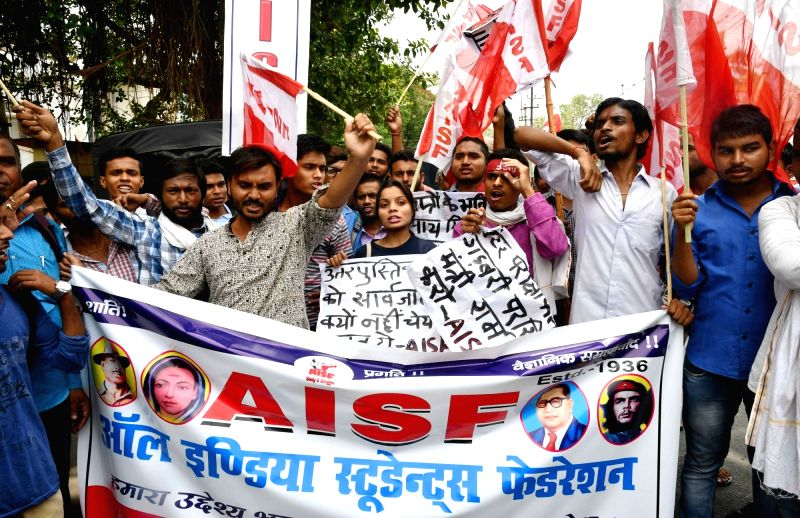 All India Students Federation (AISF) activists stage a demonstration against Bihar government over alleged discrepancies in the class 12 results declared by Bihar School Examination Board ...