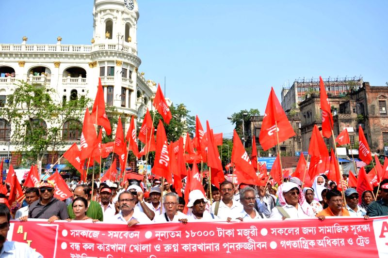 All India Trade Union Congress (AITUC) activists stage a protest against West Bengal government in Kolkata, on May 4, 2017.