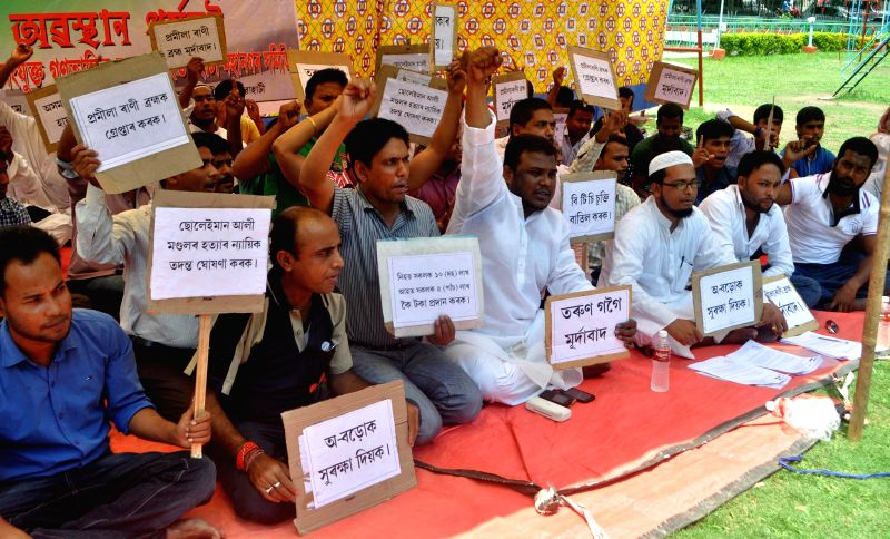 All India United Democratic Youth Front (AIUDYF) activists stage a demonstration against recent BTAD violence, in Guwahati on May 12, 2014.