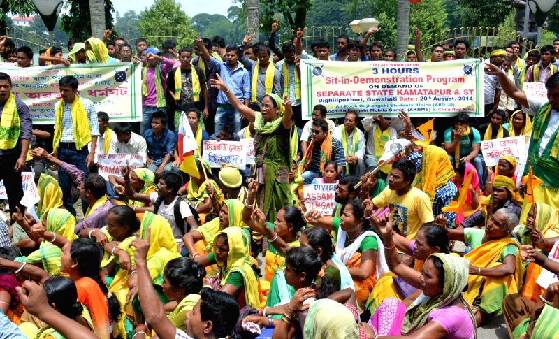 All Koch-Rajbongshi Student's Union (AKRSU) activists stage a demonstration to press for creation of a separate Kamatapur state in Guwahati on Aug 20, 2014.