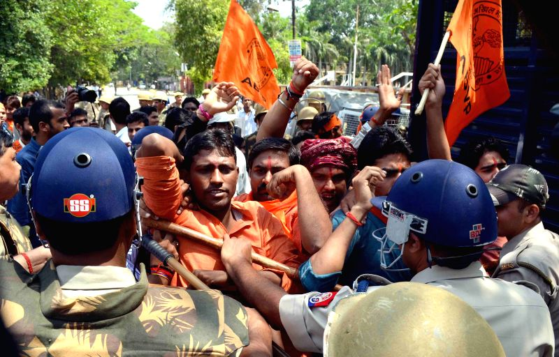ABVP workers stage a demonstration against UPPCS chairman after the first paper of the exams were leaked on  social media, in Allahabad, on April 2, 2015.