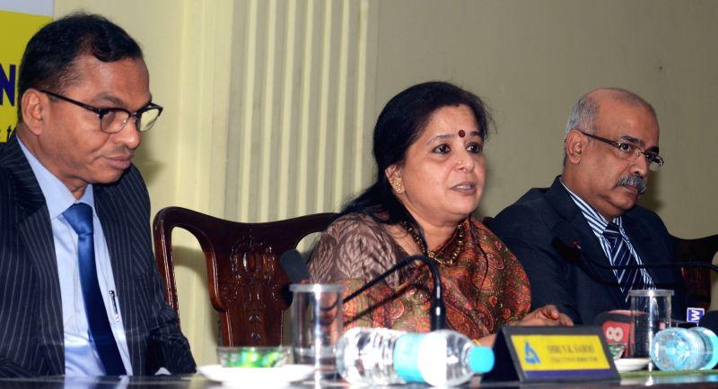 Allahabad Bank Managing Director and Chief Executive Officer Usha Ananthasubramanian addresses a press conference in Kolkata, on Aug 11, 2017.