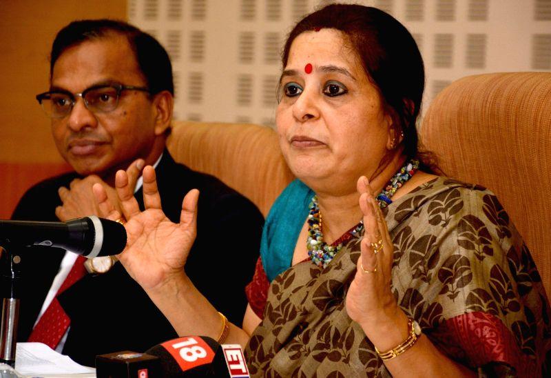 Allahabad Bank MD and CEO Usha Ananthasubramanian addresses a press conference in Kolkata on May 17, 2017.