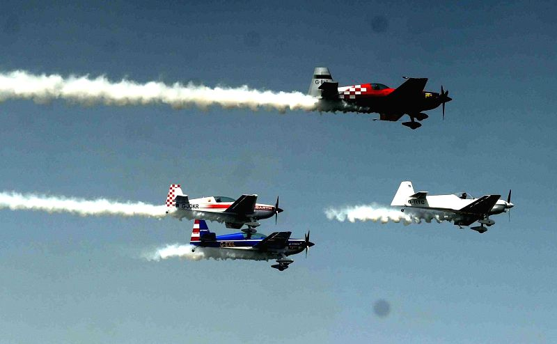 British Aerobatics Champions rehearse for upcoming Air Show and Gujarat Aero Conclave 2015 in Ahmedabad, on March 30, 2015.